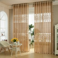 curtain voile - 2 Styles Jaquard Sheer Curtains White Coffee Customer made Living Room Voile Sheer Curtains Drape Panel Panel Height cm