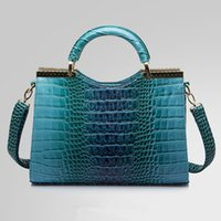 Wholesale Fashion Women Handbags Luxurious PU Leather Shoulder Bags Crocodile Grain Totes For Women Colors