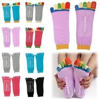 Wholesale 5 Toes Yoga Socks Exercise Massage Sports Cotton Pilates Socks Non slip Yoga Socks Female Sports Cotton Sport PVC Socks