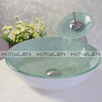 glass sink - Blue white beads Bathroom Round Tempered Glass Vessel Vanity Sink and Matching Faucet