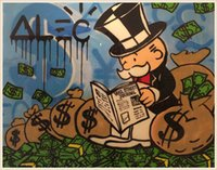 art newspapers - High Quality genuine Hand Painted Wall Decor Alec monopoly Graffiti Pop Art Oil Painting On Canvas Alec monopoly read newspaper