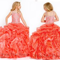 Cheap Spaghetti Straps Ball Gown Girls Pageant Dresses With Crystal Bead Tiered Ruffles Sweep Train For Little Girls Gowns