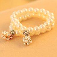 Italiano Chegada Nova Mulheres Elegant Pérola simulada Bracelet Elastic morango Pérola Bola de presente para a namorada Bracelet B395
