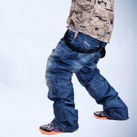 Wholesale Skis Trousers Casual protection denim waterproof Suspenders men skipants jeans snowboard Breathable Warm Pants P40