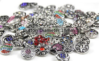 Wholesale 15 off High quality Mix Many styles mm Metal Snap Button Charm Rhinestone Styles Button Ginger Snaps Jewelry