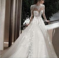 Wholesale High Necked Jacket Transparent Sexy Halter A Line Long Sleeved Wedding Dresses Plus Size Bride Wedding Drees Vestido De Noiva