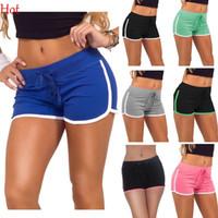 achat en gros de les femmes courtes vert-Shorts Femme Été 2015 Hot Casual Shorts Womens Sport Coton Shorts Noir Bleu Gris Vert Rose Loisirs Jogging Shorts Drawstring SV025345