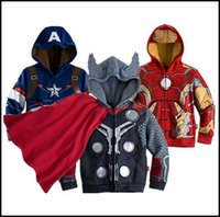 america cardigan - 2015 kids cartoon cosplay jackets children Hoodies Sweatshirts superhero ironman holk Captain America Avenger boys girls cardigan J082503