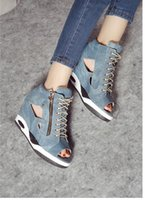 Wholesale 2015 fall within the new increased wedges waterproof denim canvas belt fish mouth open toed sandals women