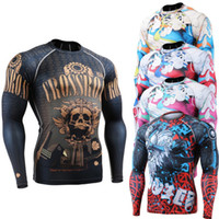 Wholesale boxing Skin Tights all body printing long Sleeve Jerseys Clothing MMA Crossfit GYM Weight Lifting Running Man T Shirt