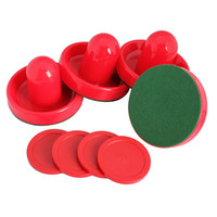 air hockey pucks - 4Pcs Air Hockey Table Goalies with Puck Felt Pusher Mallet Grip Red