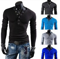 Wholesale autumn men long sleeve T shirt solid color black men s clothing cotton o neck strap buckle thickening tshirts tees
