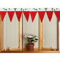 acrylic window panels - 2015 New Cute Christmas Hat Curtain Drape Panel Hanging Door Window Cloth Red Christmas Party Home Shop Decoration