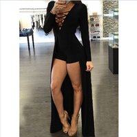 Wholesale 2016 Nightclub Jumpsuits For Women Sexy V Neck Bandage Long Sleeves Jumpsuits Sexy Bodycon Cropped High Low Jumpsuits