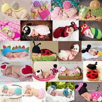 Wholesale Baby Newborn Nursling Cap Photo Photography Props Hats Costume Handmade Crochet Knitted Set Cartoon Animal Beanie Infant Outfits Mix Styles