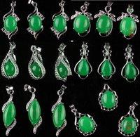 al por mayor niñas collar verde-Joyería nupcial pendiente CALIENTE del muchacho de la muchacha del collar de la gema del jade del Malay de la plata 10pcs Tíbet para el regalo del contrato de la boda