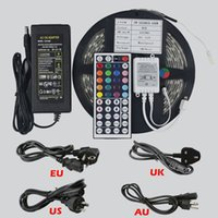 Wholesale 5M LED LED M IP65 Waterproof SMD5050 RGB LED Strips LED Neon Light Strip Keys IR Remote Controller A V Electronic Transformer