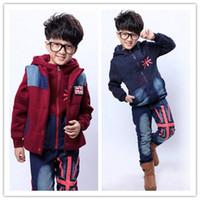 Cheap 3-Piece Set Big Kids Thick Casual Sets Boy Girl Warm Denim Sport Sets Kids Waistcoat + Hoodies + Pants Children Outfits 6 Set lot G18F42