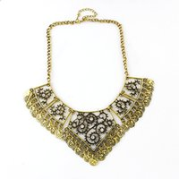 antique silver chains - Vintage Style Antique Silver Gold Alloy Hollow Out Coin Pendant Statement Necklace for Women New Fashion Jewelry