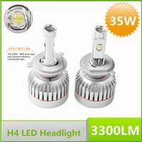 Wholesale 35W H4 Cree LED Car Headlight Kit Replace Hid Xenon Kit Bulb Globe Lamp V V lm