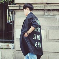 american male names - Fall European and American big name fashion catwalk models back letter totem printing long sections windbreaker jacket coat male Brit