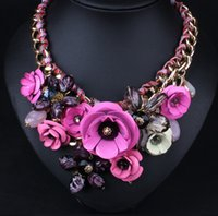 big colorful necklaces - Fashion Necklace for Party and Daily Matching Dress N194 Series of Necklace Knit by Big Colorful Flowers And Cotton Rope