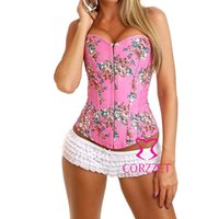 Wholesale Pink Strapless Boned Lace up Back Denim Floral Corset Top Bustier Lingerie Sexy Women Flowers Corpete Corselet Gothic Clothing