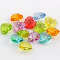 acrylic faceted - Hot Mix Color Acrylic Faceted Loving Heart Charms Pendant x14mm DIY Jewelry