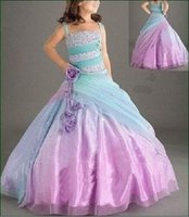 ar organza - Beautiful Spaghetti Straps ball gown Floor length Beaded Long Baby Girl s Pageant Dresses Lace up Flower Girl Gowns New Ar