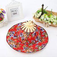 bamboo folding hat - New Originality Upscale Bamboo Cotton Casual Folding Fan Cap