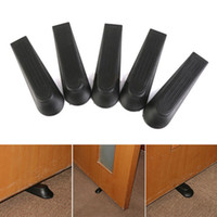 Wholesale 5pcs set High Quality Black Door Stops Stoppers Wedges Jam Block Holder Cather Home Office Tool