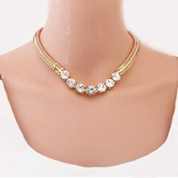 Wholesale 6pcs Vintage Jewelry Fashion Vintage Chunky Clearly Crystal Chain Link Short Choker Necklace For Women Gift Statement Necklace JN06360