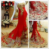 china prom dresses - 2015 Red Luxury Evening Prom Dresses Strapless Applique Flowers Court Train China Celebrity Evening Prom Gowns