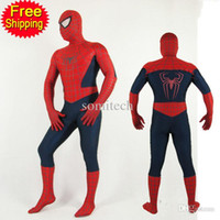 Wholesale adult spiderman costumes Spiderman cosplay halloween costumes for men Superhero full Bodysuit spandex zentai custom