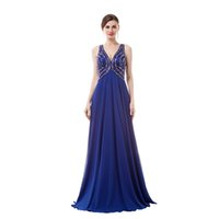 Cheap 100% Real Image chiffon prom Dresses crystal beads V neckline backless Party Gowns Evening dresses floor lenght In stock