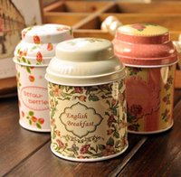 Wholesale Free ship pc Metal cans container tin tea caddy iron round boxes of tea food cans