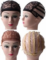 Wholesale black women hair net adjustable lace wig cap for wig making stretch weaving cap a