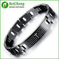 bible music - BC Classic Line Bracelet For Men Black Stainless Steel Spanish Lord s Prayer Bible Cross Bracelet Bangle Wristband pulseira homens BC