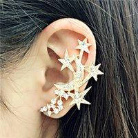 Wholesale High quality jewelry wholsale k gold plated full diamond star ear cuff stud earrings women design clip earrings earcuff