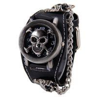 Men's belts with skulls - Attractive Stylish Black Punk Rock Chain Skull Watches Women Men Bracelet Cuff Gothic Wrist Watches Fashion Hot SP14