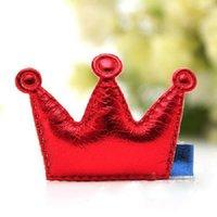 Wholesale 1 Kids Girls Leather Xmas Dancing Party Hair Clips Crown Princess Barrette Ribbon Colors