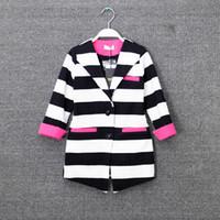 Wholesale new girls Outwear korean leisure style cotton stripe kids business suit points sleeve Long coat age ab240