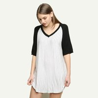 baseball sporty - Fashion Women s Mini T Shirt Dress Classic Striped Casual Sporty Dress V Neck Short Sleeve Baseball Tee Dresses Plus Size SNF0325