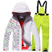 Wholesale Gsou Snow ski suit set jackets and pants underwear dresses waterproof windproof warm ski suit set women