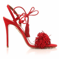 high heel sandals - Genuine leather Brand AQUAZZURA Tassel Fringe Suede Women Sandals Lace Up Ankle Strappy High Heels Prom Wedding Shoes Woman Sandals Mujer