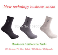 antibacterial fabric - Cotton Silver Fabric Nylon Spandex New Top Quality Classic Business Brand Man Deodorant Antibacterial Socks With Silver Fabric