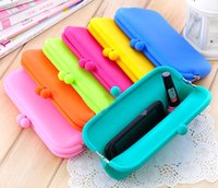 handbag silicone - New Makeup Purse Phone Case Silicone Charming Cosmetic Bags Simple Pink Blue Green Purple Orange Youthful Cute Handbags