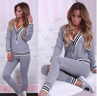 Wholesale 2015 Womens Winter Clothing Tracksuit Set Women Tracksuits Sport Suits Black Autumn Winter Long Sleeve Sweatshirts Women Hoodies