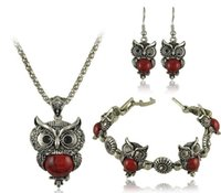 Wholesale Summer Style Jewelry Sets Tibet Silver Vintage Turquoise Owl Pendant Necklace Earring Bracelet Jewelry Set For Women DS