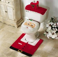 bath accessories red - 3pcs Santa claus toilet cover bathroom sit tank cover bath accessories christmas decoration bano set universal size high quality fabric